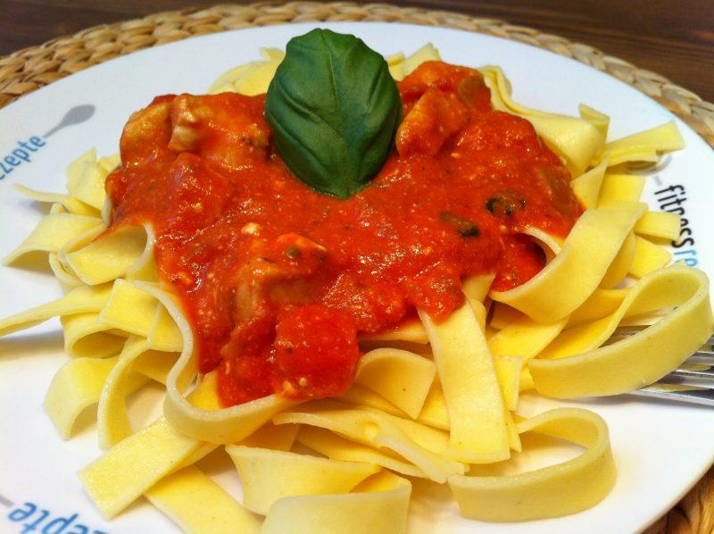 Die leckere low fat Pasta mit der sahnigen Tomatensauce