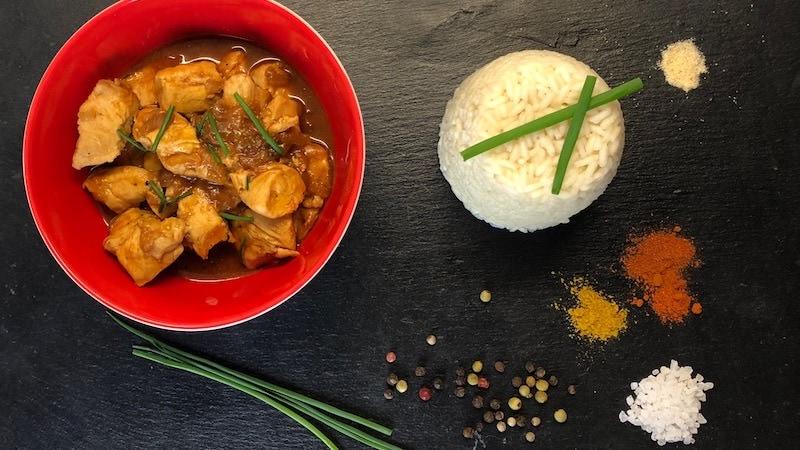 Ungarisches Hähnchen Gulasch Reis Proteine fettarm
