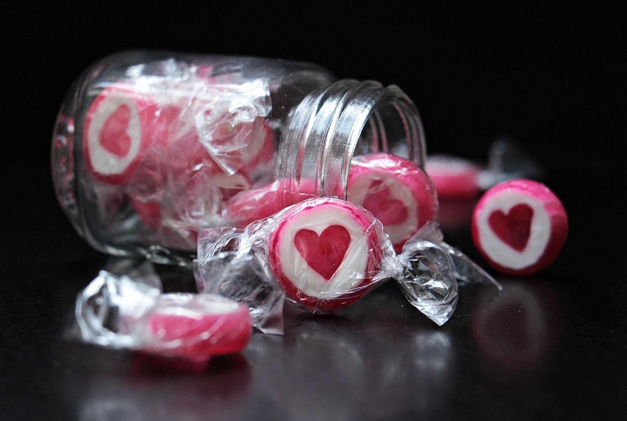 Herz, Bonbons, Süßigkeiten