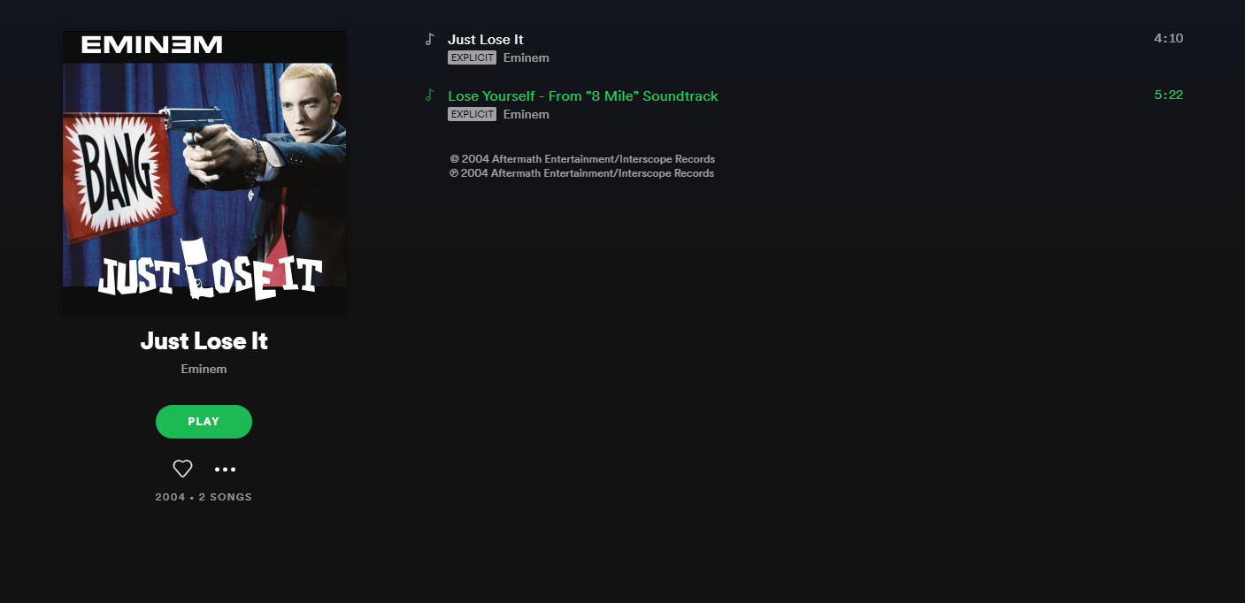 Spotify, Eminem
